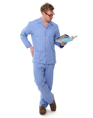 Blue Herringbone PJs