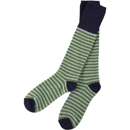 Lambswool Grey & Green Stripy Knee Socks (Men)