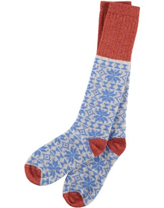 Lambswool Bright Blue Fair Isle Knee Socks