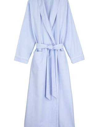 Brushed Cotton Dressing Gown in Pastel Blue
