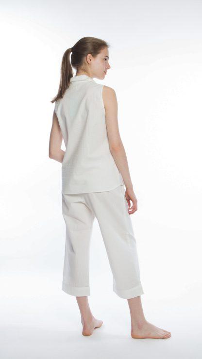Blanc Seersucker Sleeveless Cropped Pant PJs