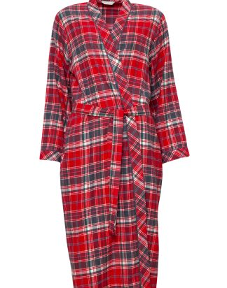Belle Woven Long Sleeve Brushed Check Long Dressing Gown