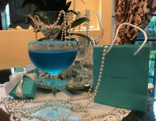"The Tiffany Blue Mimosa that was the final ""inspiration"" for the whole Breakfast at Tiffanys event!"