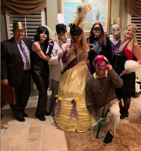 This was the whole gang from our Mardi Gras event! The evening was a lot of fun, even if the mystery itself wasn't too well written!