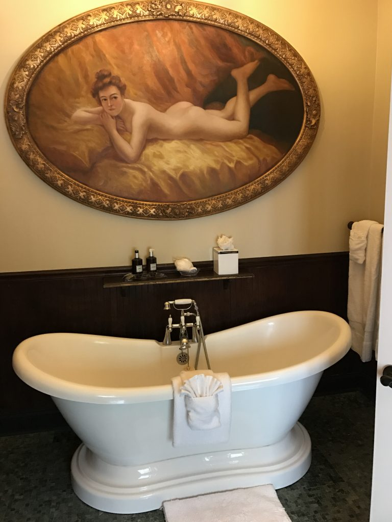 This was our bathroom at The Maxwell Mansion. I couldn't wait to get in this tub! It was so beautiful!