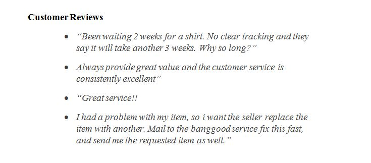 Banggood customers reviews