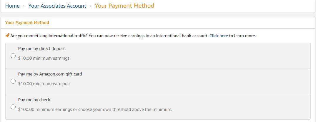 Amazon Affiliate Program Payment Methods