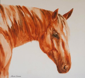 This is a horse from Atkins Ranch. I thought this mare was amazing. I used a different technique with my oils on this one. I thinned the paint and started from light to dark.