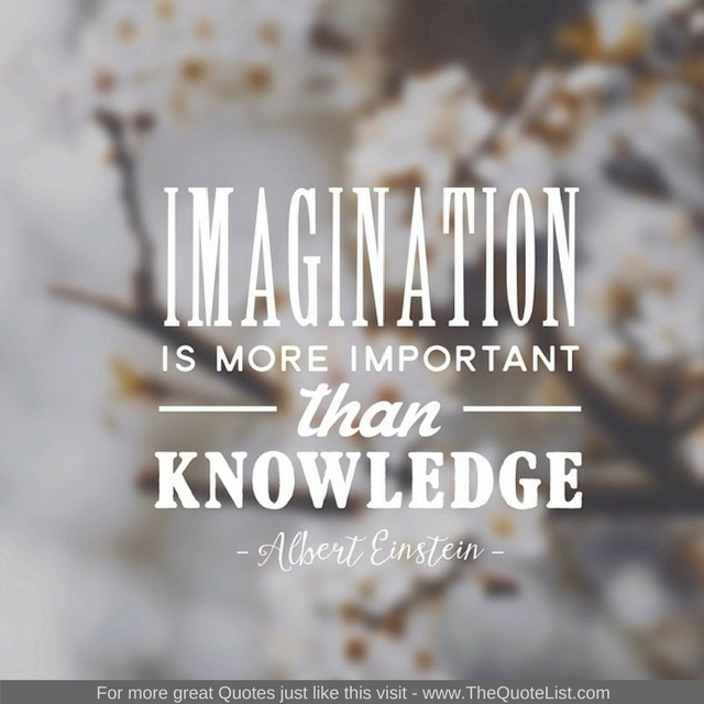 """Imagination is more important than knowledge"" - Albert Einstein"
