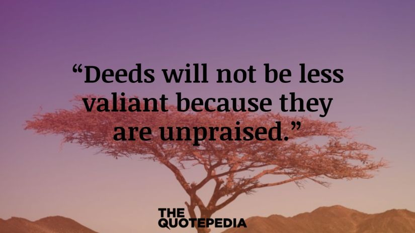 """""""Deeds will not be less valiant because they are unpraised."""""""