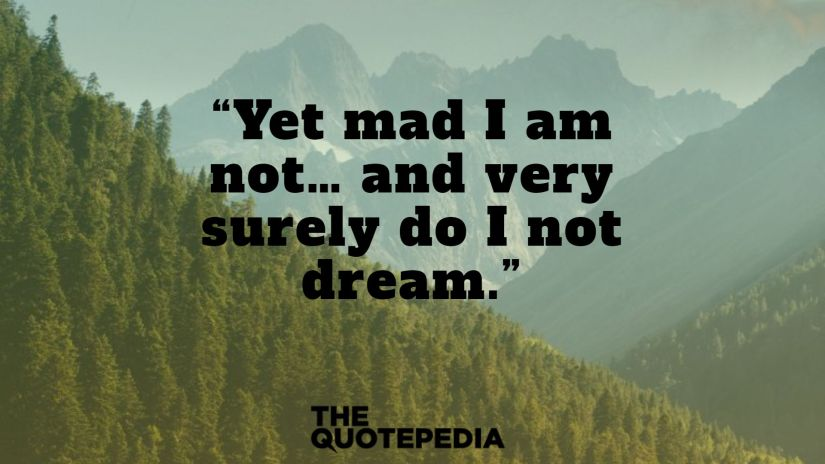"""""""Yet mad I am not… and very surely do I not dream."""""""