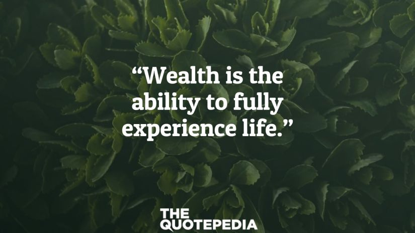 """Wealth is the ability to fully experience life."""