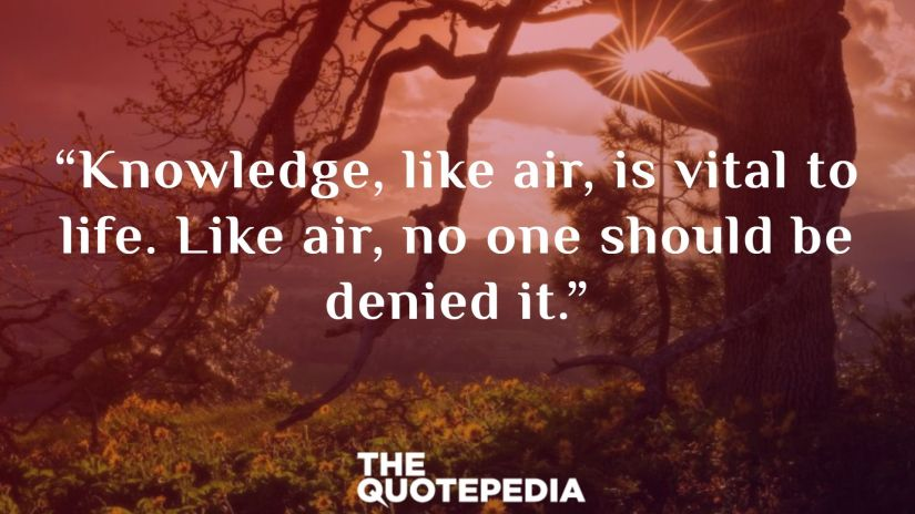 """""""Knowledge, like air, is vital to life. Like air, no one should be denied it."""""""