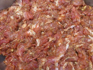 Linguica chopped and seasoned  -Alice DeLuca 2012 digimarc
