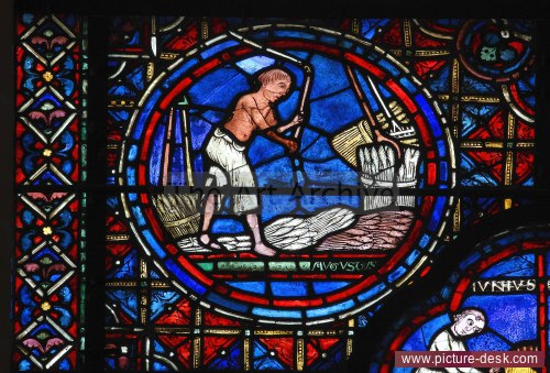 stained glass, Chartres Cathedral, wheat thresher