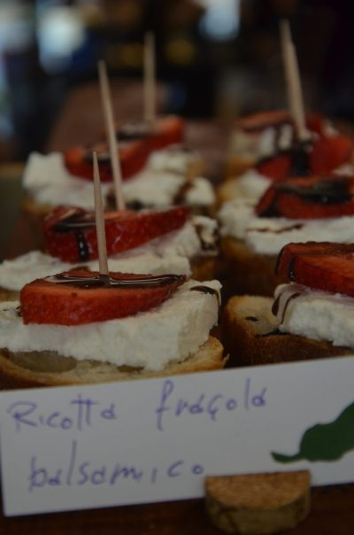 Fresh ricotta, strawberries and Balsamic vinegar. Venetian food. Cicchetti in Venice.