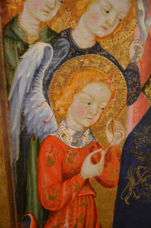 Close-up angel Catalan triptych Casale Monferrato Italy