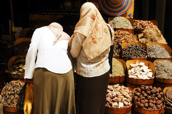 Egyptian women in market in Aswan