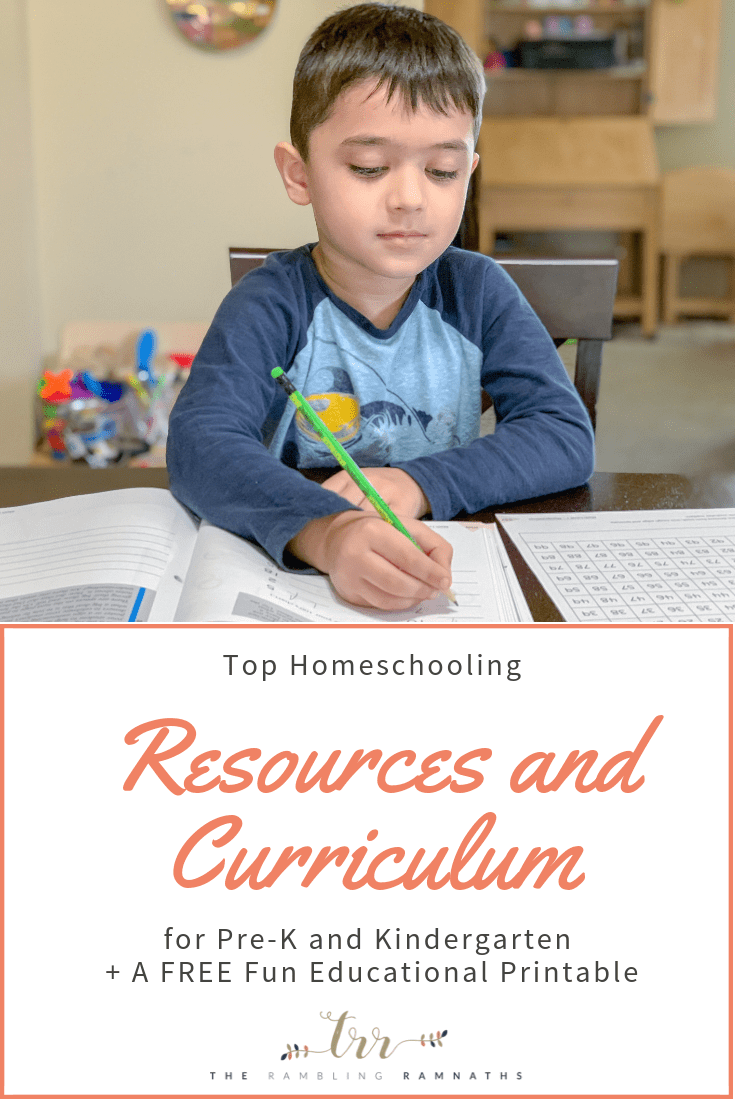 Top Homeschooling Resources and Curriculum for Pre-K and Kindergarten. Just a glimpse of what we use to educate our 5-year-old for homeschool. Plus, there is a FREE fun educational printable!