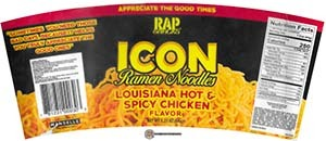#3664: Rap Snacks Icon Ramen Noodles Louisiana Hot & Spicy Chicken - United States