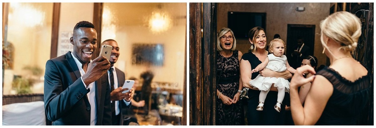 friends see bride for first time