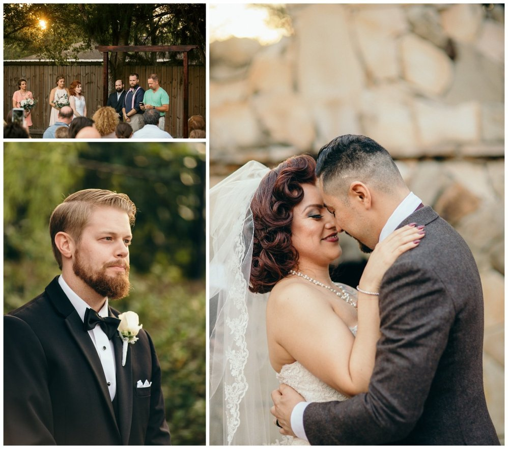 wedding ceremony pictures taken during golden hour