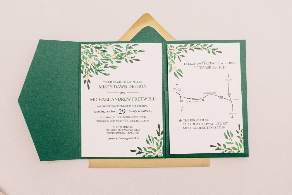 wedding invitation detail shot