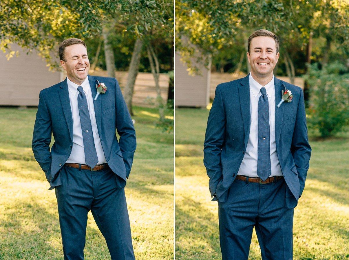 groom portraits laughing