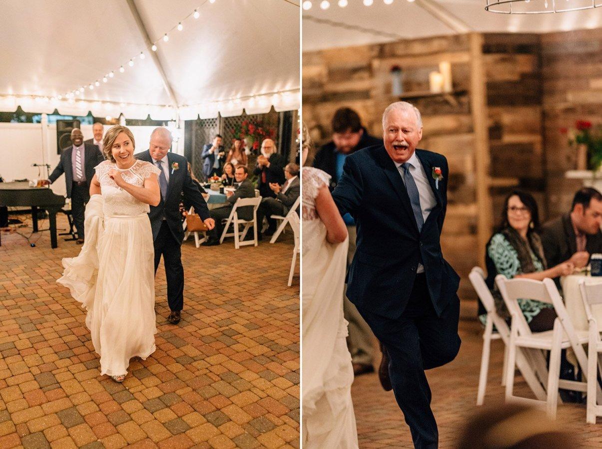 father of bride dances with joy
