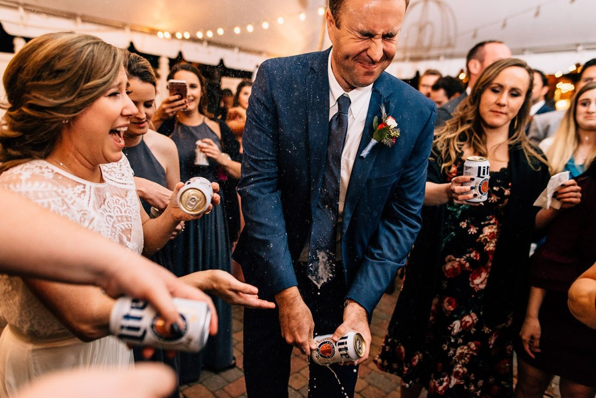 shotgunning a beer at a wedding