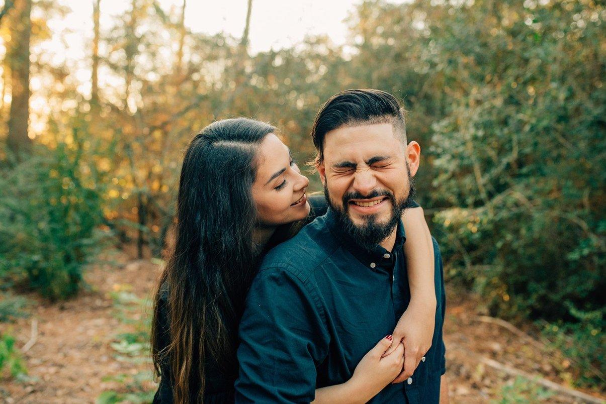 woman making fiance laugh