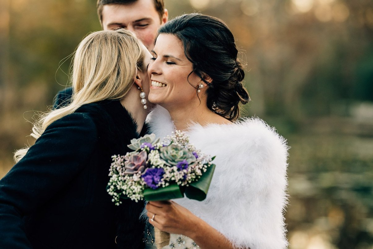 happy bride during elopement