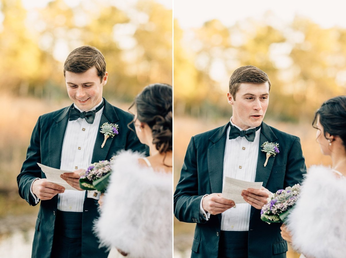 groom reading vows to bride