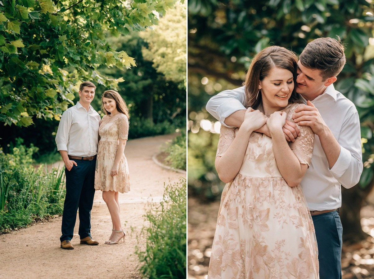 Classic engagement poses at Hermann Park