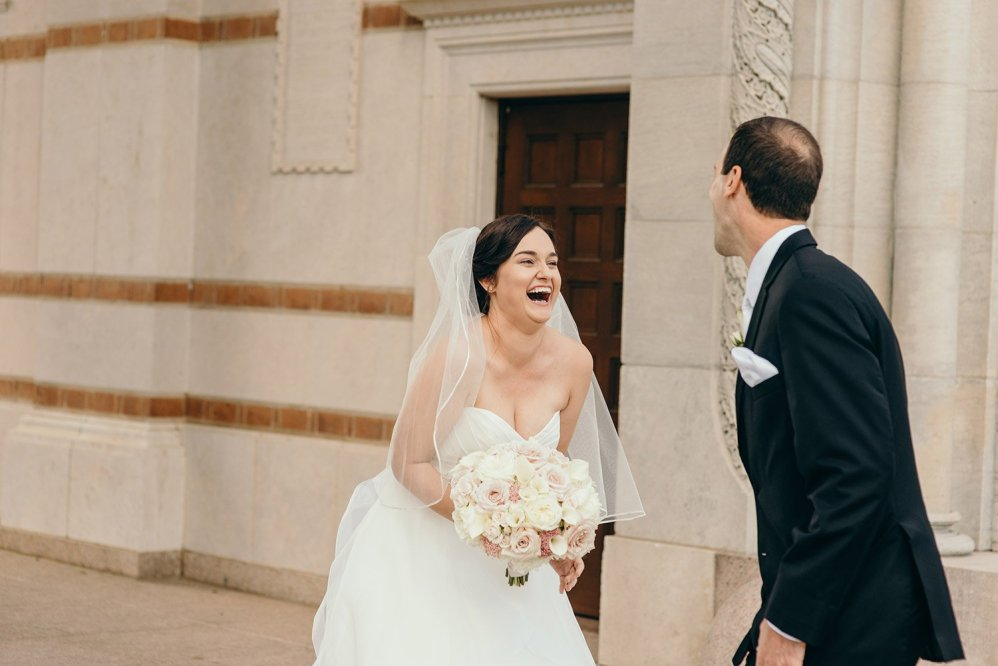 bride and groom excited to see each other