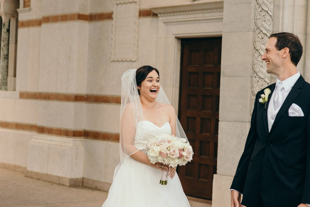 bride and groom seeing each other for first time