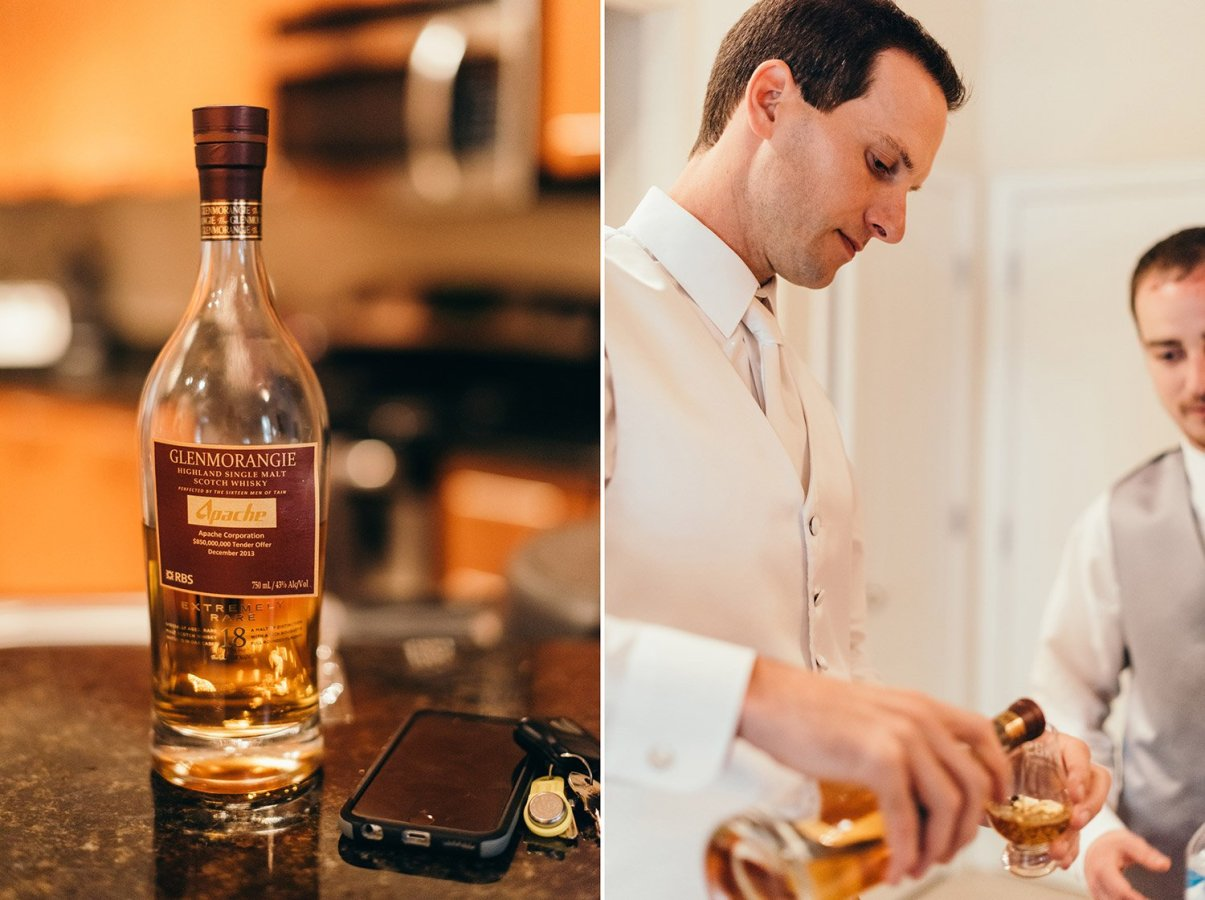 groom pouring scotch