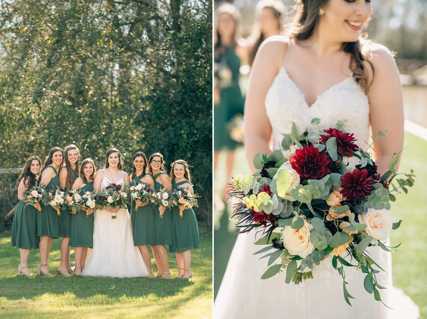 bridesmaid and wedding bouquet details