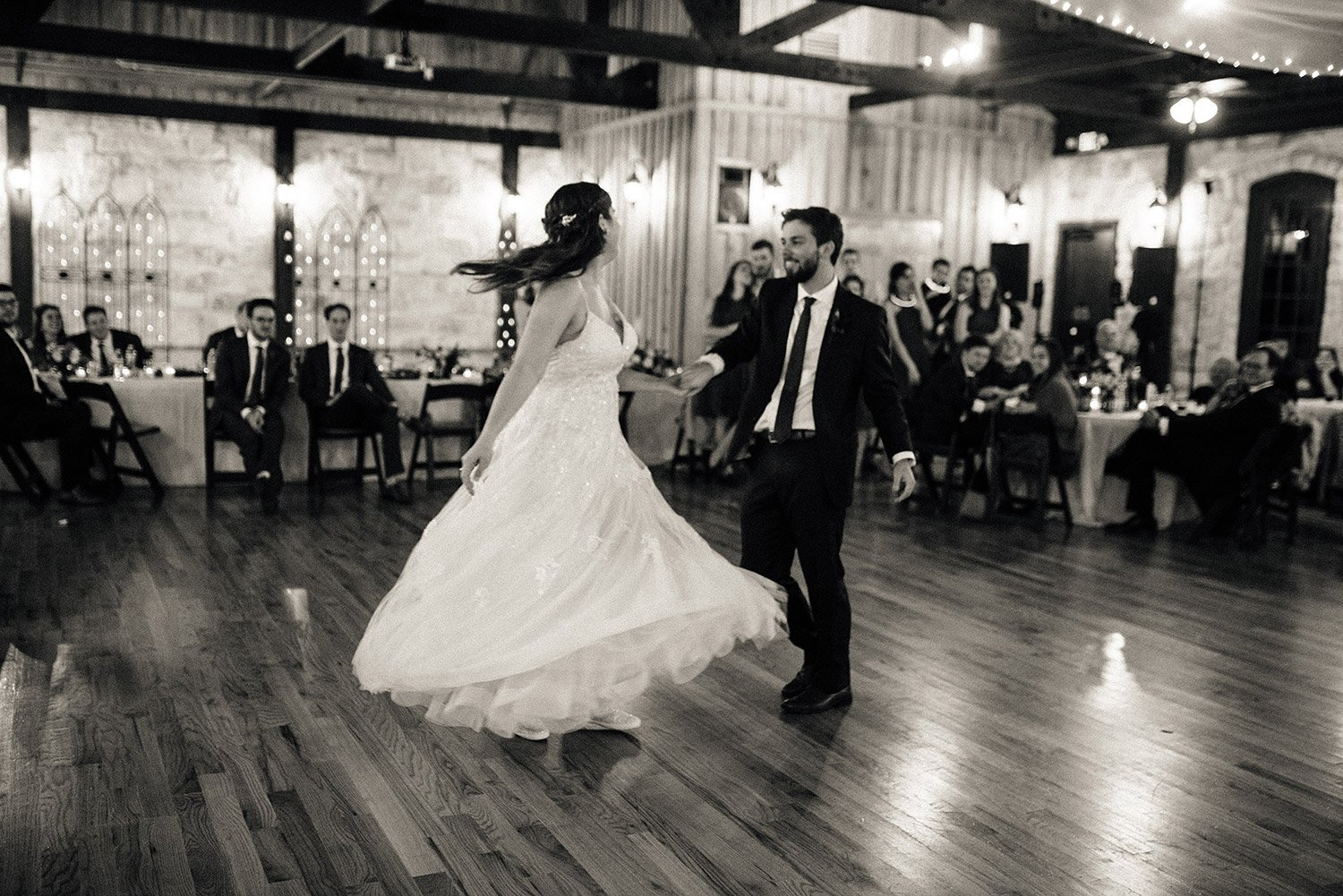 bride and groom first dance at springs event center