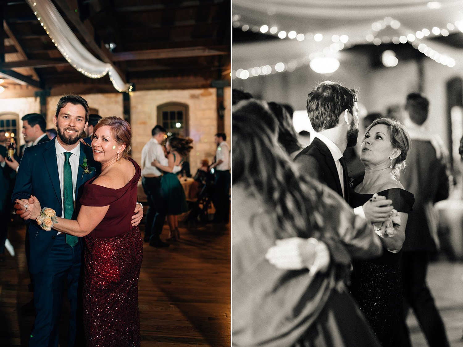groom dances with his mother at wedding reception