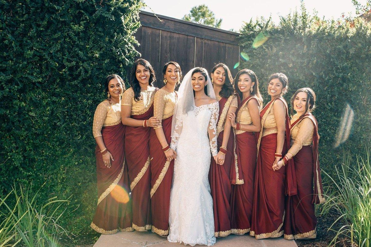 bride and bridesmaid portraits at the woodlands resort