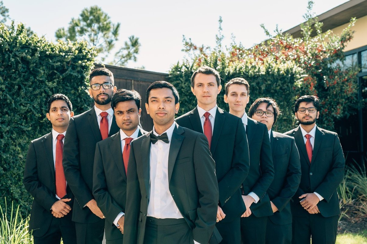 groomsmen serious portrait