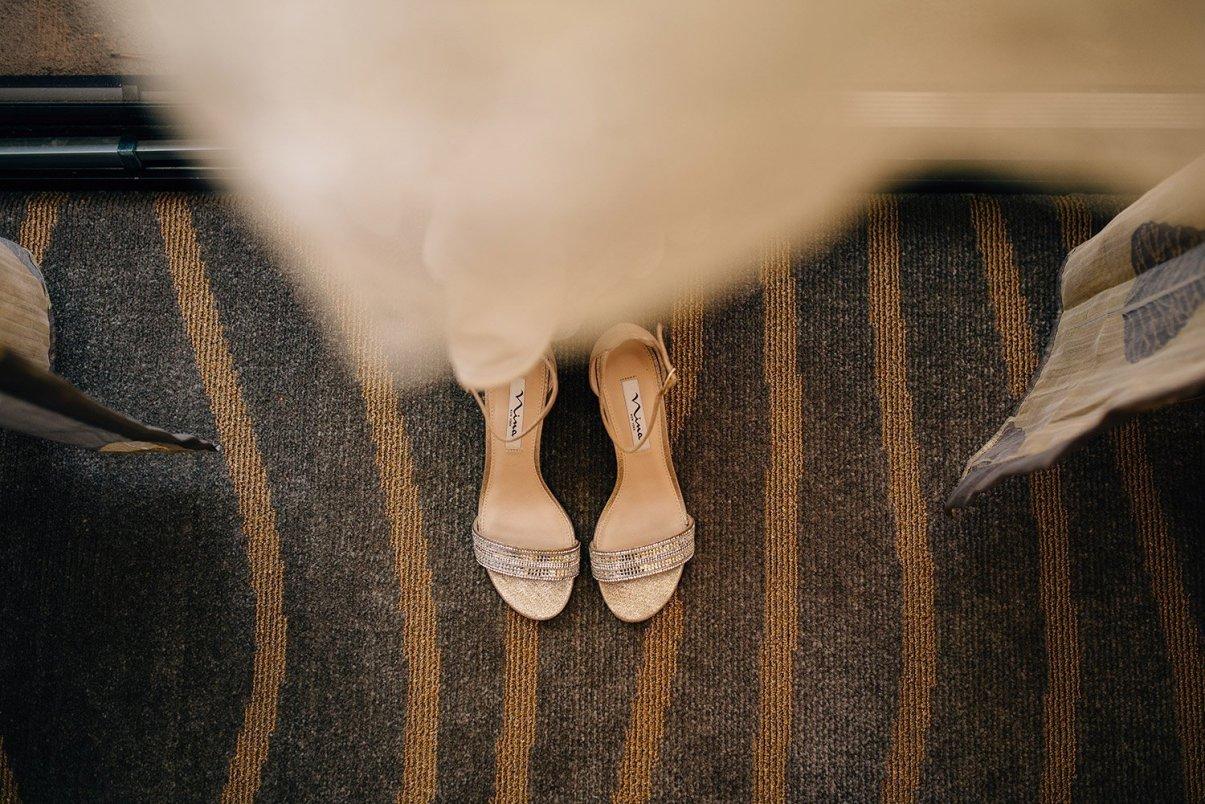 bride's shoe details