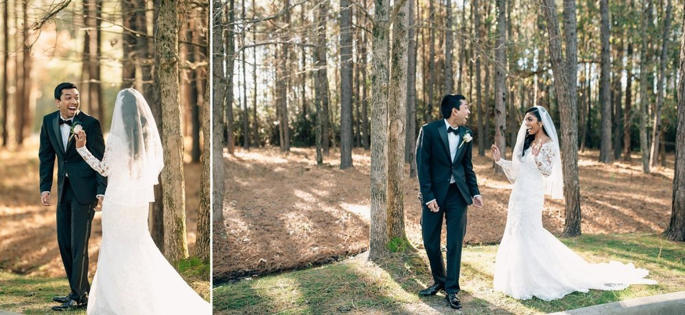 first look before wedding at chapel in the woods