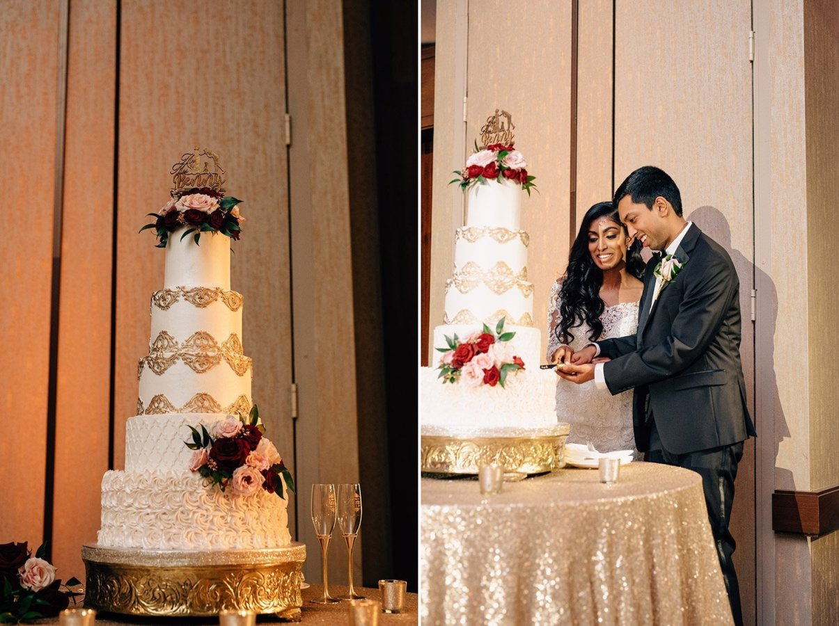 large wedding cake at wedding reception
