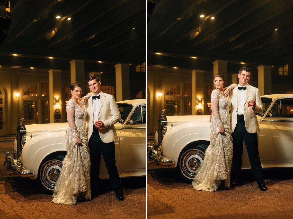 bride and groom with vintage rolls royce get away car