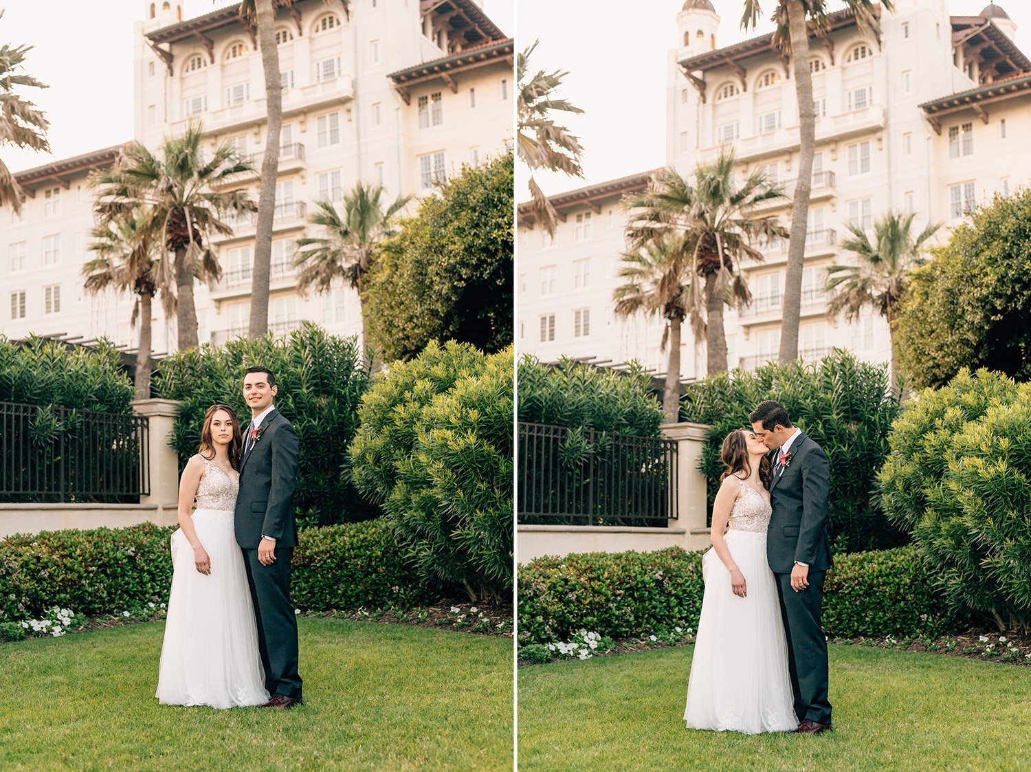 bride and groom portraits after their sweet wedding at hotel galvez
