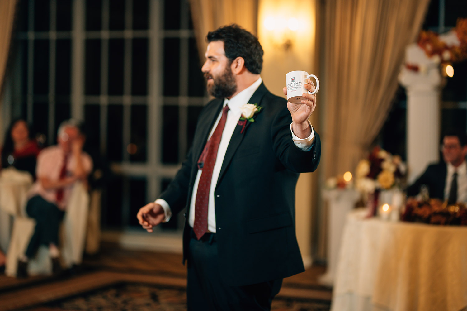 best man gives a toast at sweetwater country club wedding reception