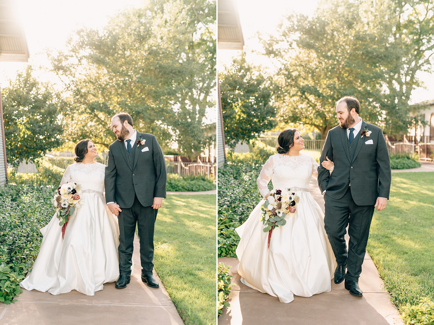 Bride and Groom walk outside of their Cotton Gin No. 116 Wedding
