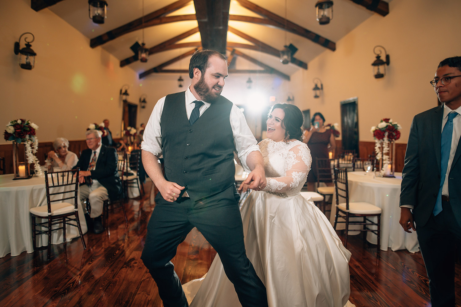 bride and groom dancing at cotton gin no. 116